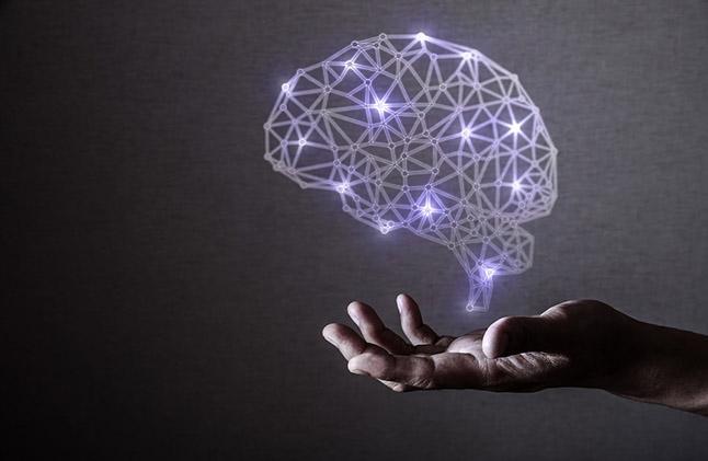 mão sobre o cerebro