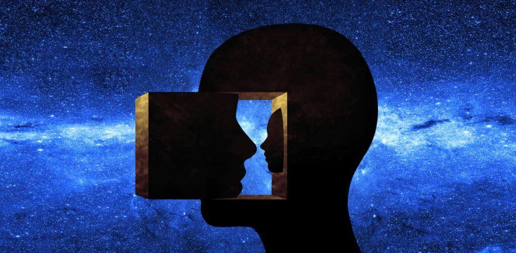uma ilustração de um face virada para dentro de si mesma