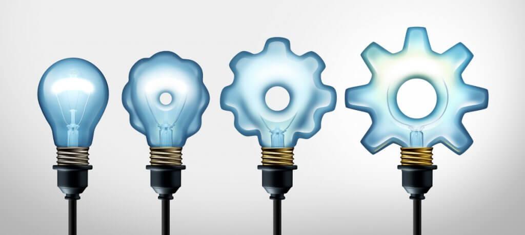 quatro lâmpadas que evoluem