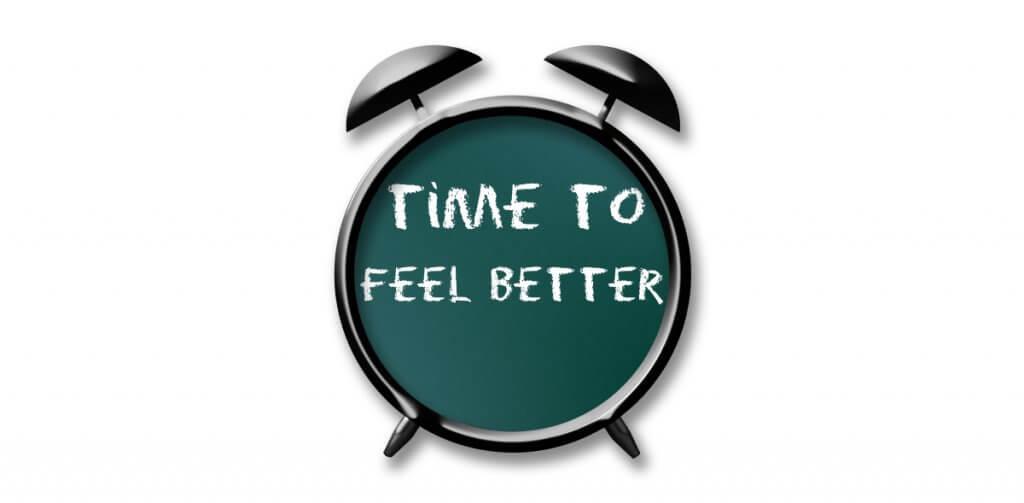relógio escrito - tempo de se sentir melhor